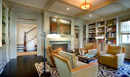 Gambrel Shingle Style - family room, fireplace